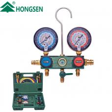 Коллектор заправочный 2-вентильный HS-236A-60 Hongsen R22, R134a, R404a, R407C (кейс)