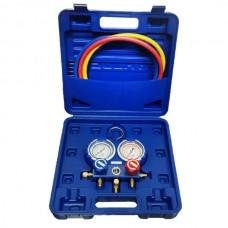 Коллектор заправочный 2-вентильный VMG-2-R22 Value R404a/R407/R134a/R22 80мм в кейсе