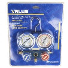 Коллектор заправочный 2-вентильный VMG-2-R410A-05 Value R-134, R-404, R-407, R-410 80мм со шланг. BL