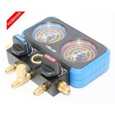 Коллектор заправочный 2-вентильный VRM2-B-0501 Value R-22, R-134, R-404, R-407; d=68мм в кейсе